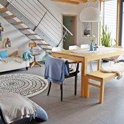 Unsere Wohnküche mit meiner Lieblingsfarbe hellblau ...