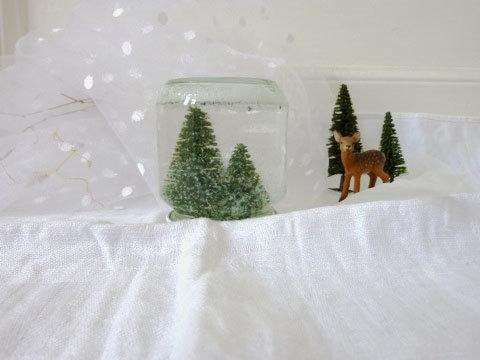weihnachts dekoration selber machen eine schneekugel mit kleinen tannenb umen. Black Bedroom Furniture Sets. Home Design Ideas