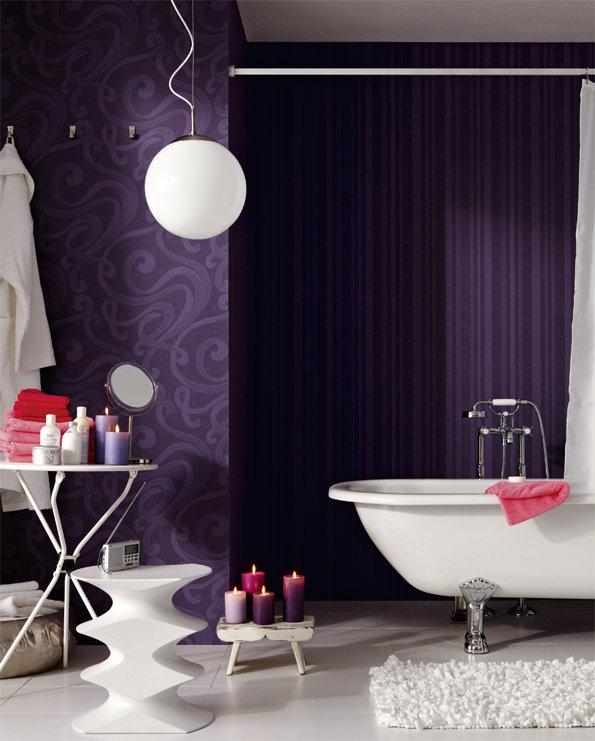 wandgestaltung lila tapeten - Tapeten Lila Farbe Wandgestaltung