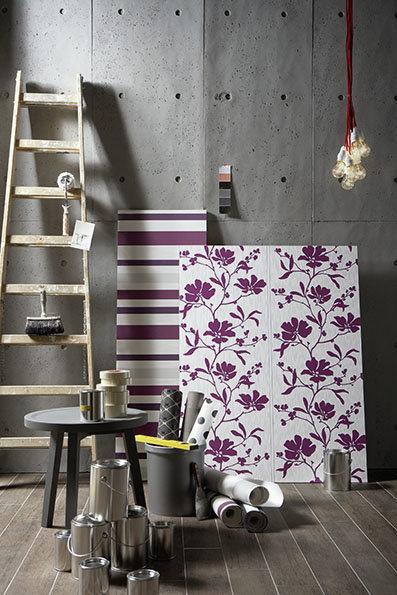 Wandgestaltung: Lila Tapeten