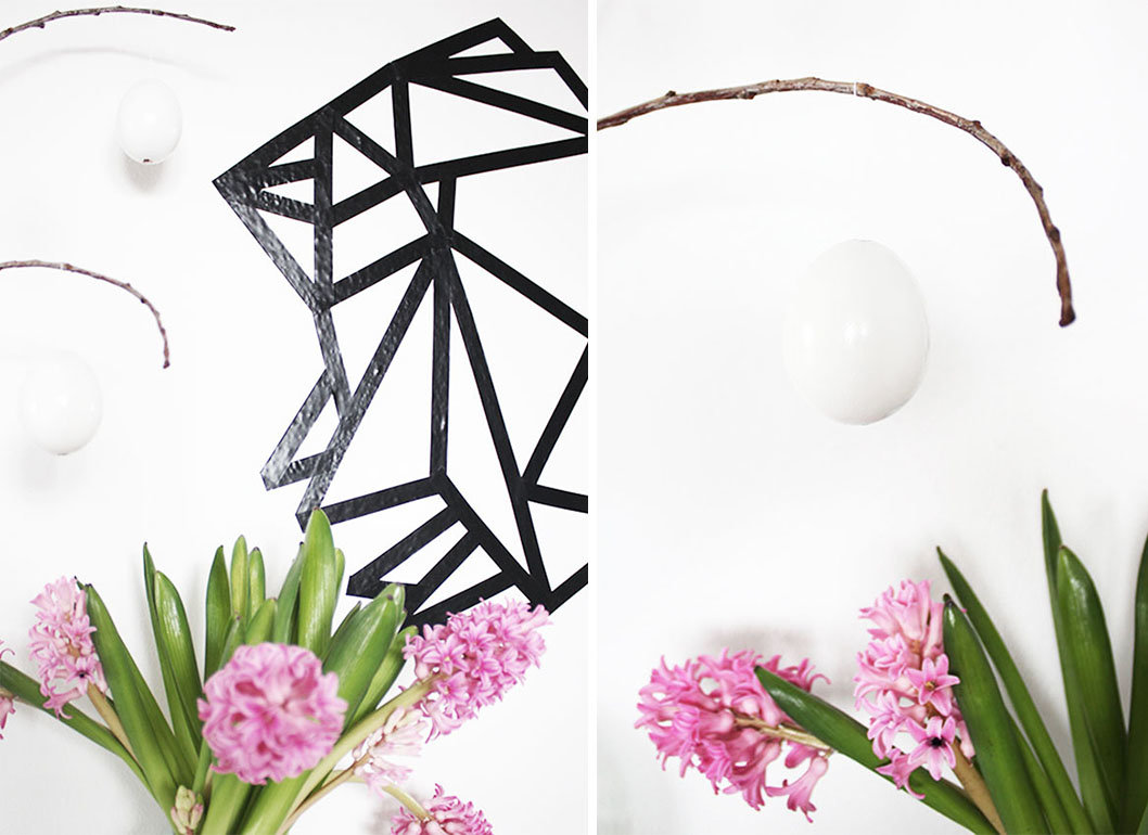 origami hase wandbild aus maskingtape. Black Bedroom Furniture Sets. Home Design Ideas