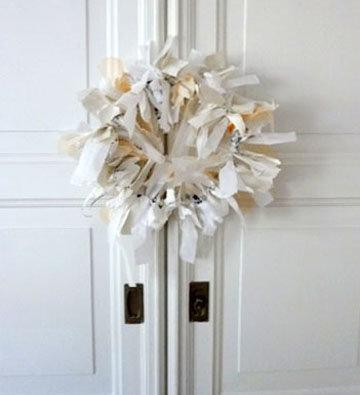 wanddeko kranz aus stoff und papier selber machen