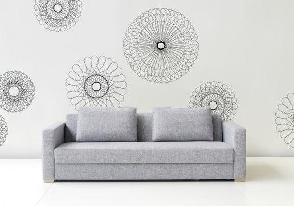 wanddeko mit schablonen selber machen. Black Bedroom Furniture Sets. Home Design Ideas