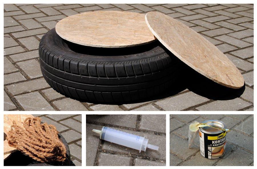 Die wichtigsten Utensilien für das Upcycling des Autoreifens: Zwei ...