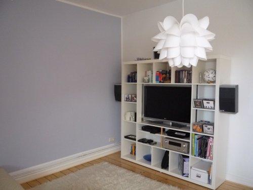 wandfarbe blau grau wohnzimmer sofa couchtisch rund ledersessel ... - Farbe Fr Wohnzimmer