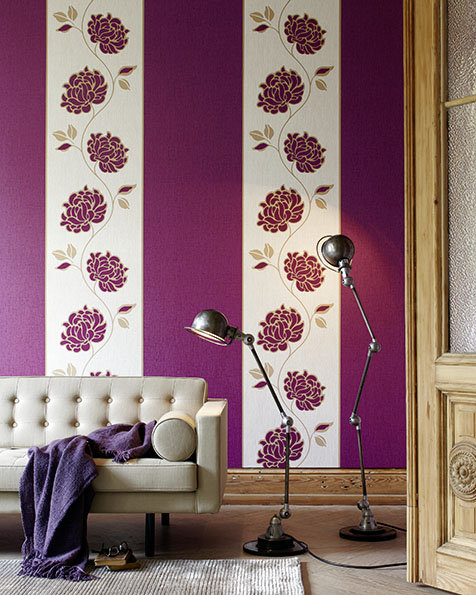 wandgestaltung lila tapeten. Black Bedroom Furniture Sets. Home Design Ideas