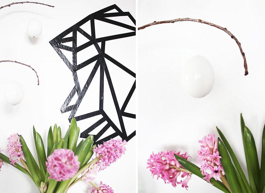 origami hase wandbild aus maskingtape. Black Bedroom Furniture Sets. Home Design Ideas