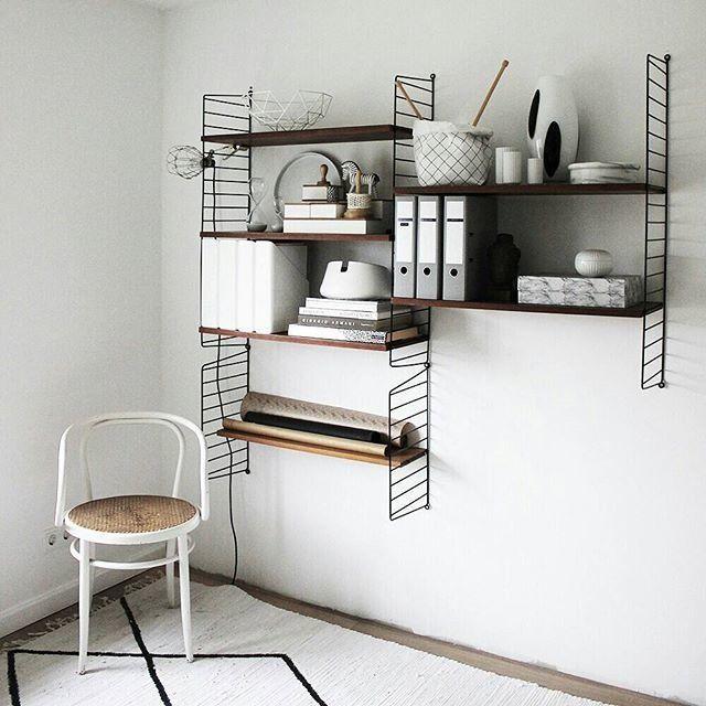 Wandgestaltung Arbeitszimmer. Das String Regal Im Arbeitszimmer