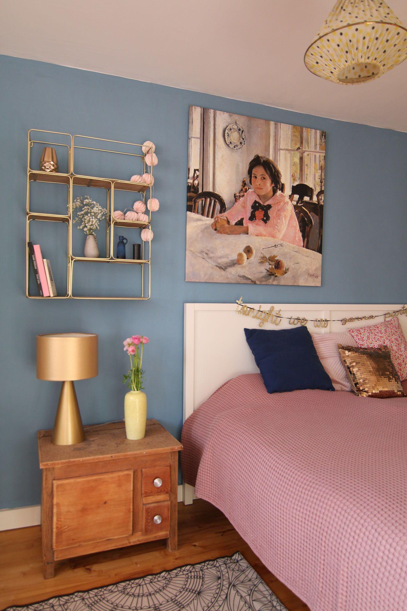 Wandgestaltung Schlafzimmer. Von Gold Zu Blau