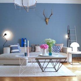 wandfarbe blau, türkis, petrol - Blaue Wand