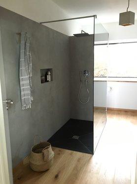 Badezimmer Betonoptik beton ciré tolle ideen mit dem effektputz in betonoptik
