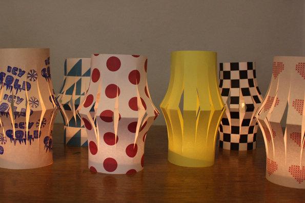 bastelideen mit papier bunte laternen f r den tisch. Black Bedroom Furniture Sets. Home Design Ideas